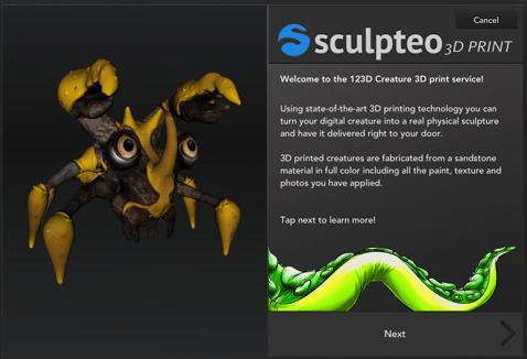 Autodesk & Sculpteo launched an iPad app, 123D Creature