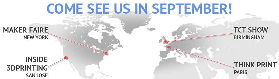 Busy month for Sculpteo in September! Meetups, Inside 3D Printing, World Maker Faire, Designer's Night… a lot of Worldwide events !