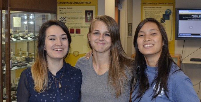 The undergraduate team working on the project, from left to right: Carmen Gonzalez, Lyndsie White & Bonnie Nguyen