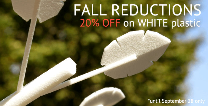 Fall Reduction : 20% off white plastic prints!