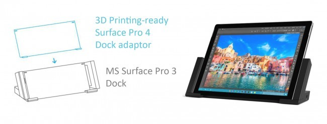 Official adapter for MS Surface Pro 4 for 3D printing