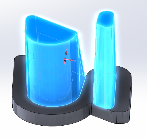 Top section of the CAD model in Solidworks
