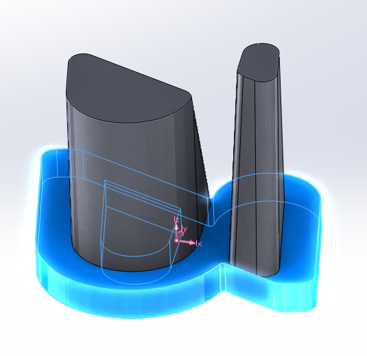 Lower section of the CAD model in Solidworks