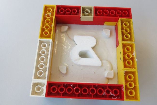 View if the Lego frame while making the second part of the silicon mold
