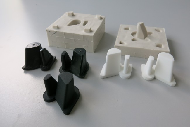 A silicon mold made from a 3D printed master and the part casted in urethane