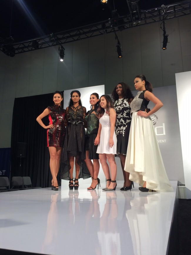 Rachel Nhan with models wearing her 3D printed collection