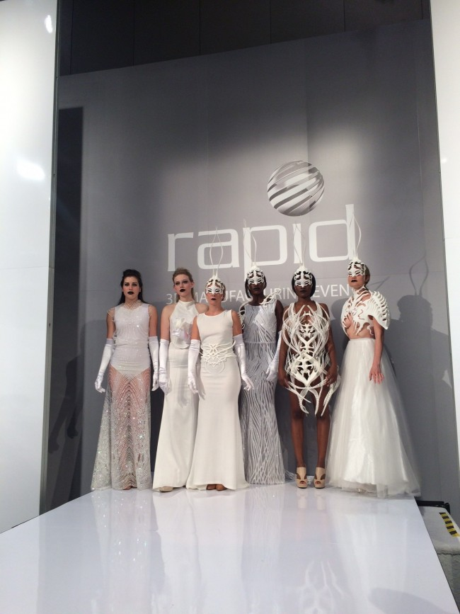 Sabina Saga's models wearing her 3D printed collection at Rapid