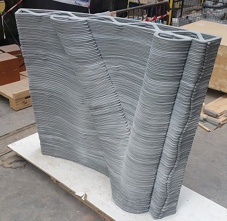 3D printed concrete wall (XtreeE)