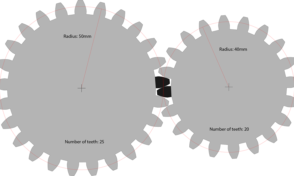 Laser cut gears radius number of teeth
