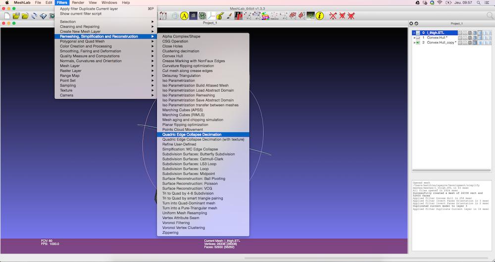 Reducción de polígonos con software Meshlab