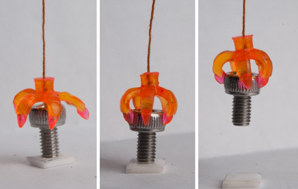 A 4D-printed gripper grabs an object when the temperature is optimal