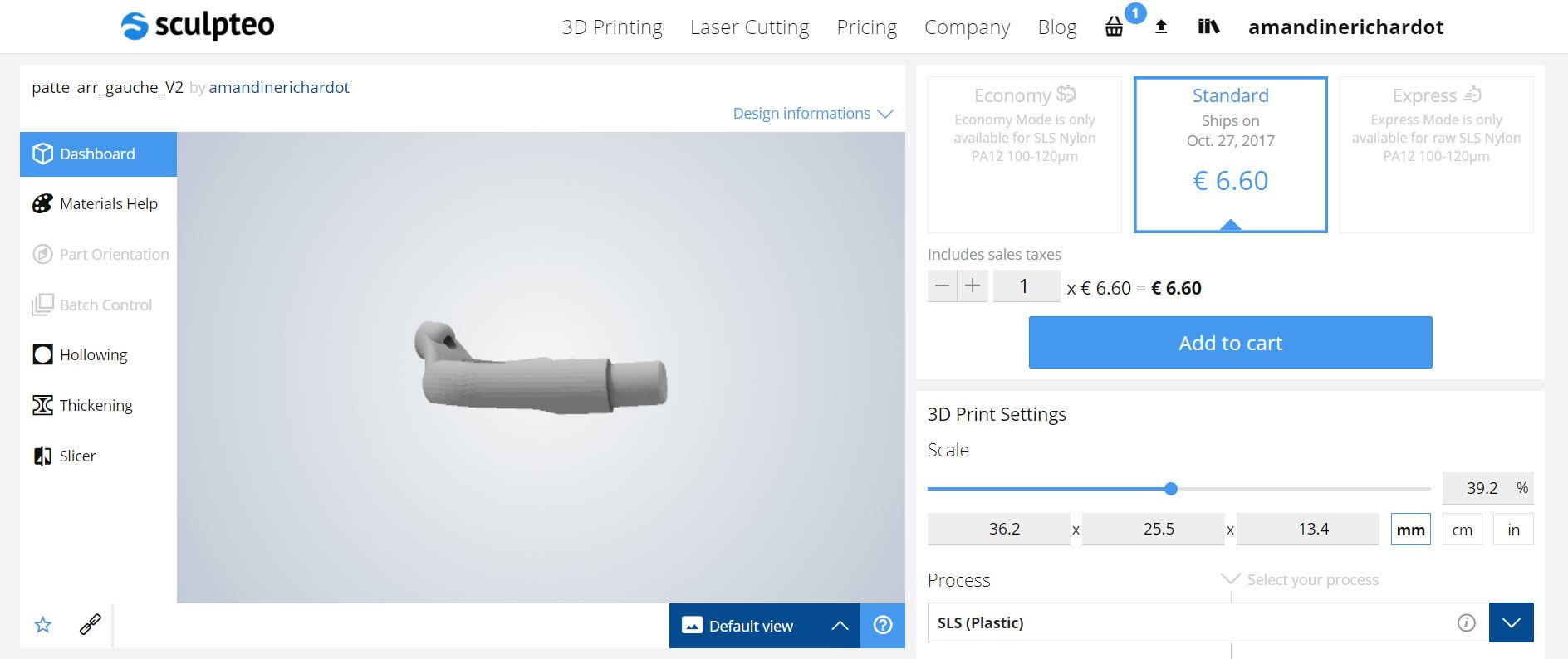 Online 3d Printing Service How To Use Sculpteo 39 S Print Page