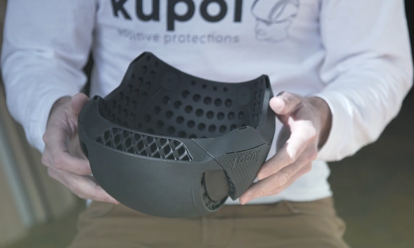 3D printed bike helmet by Kupol HP and Sculpteo