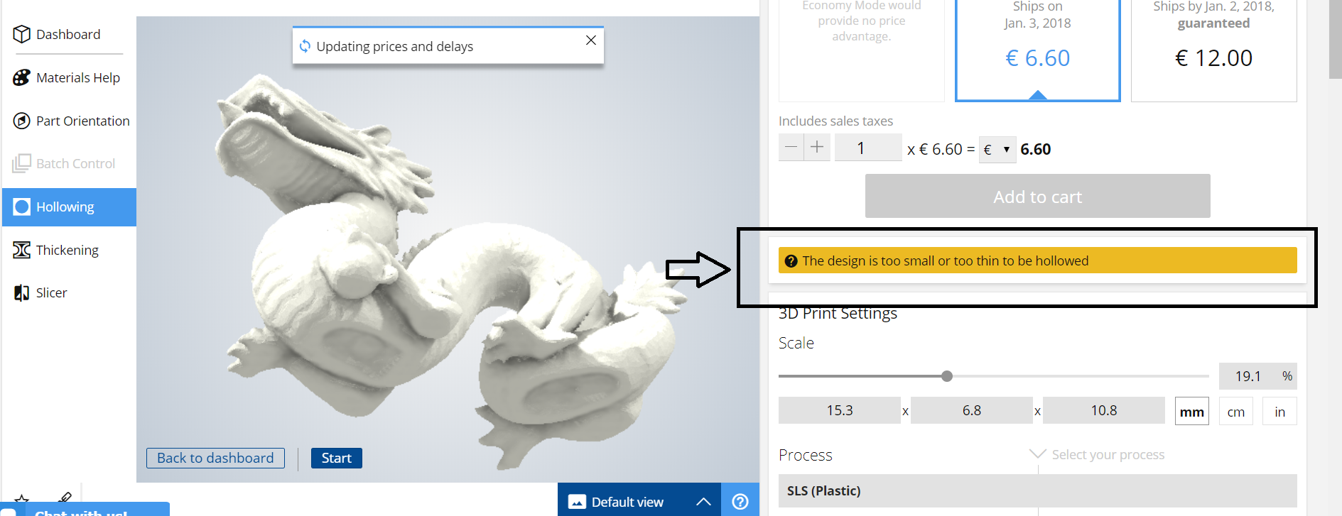 Reducing the 3D printing price with hollowing