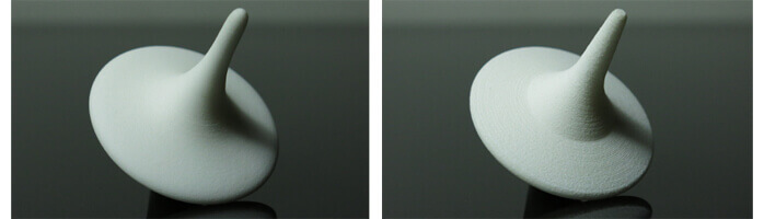 On the left-hand side is presented a high resolution of 60 µm and on the right-hand side, regular 100 µm of our Nylon PA12.