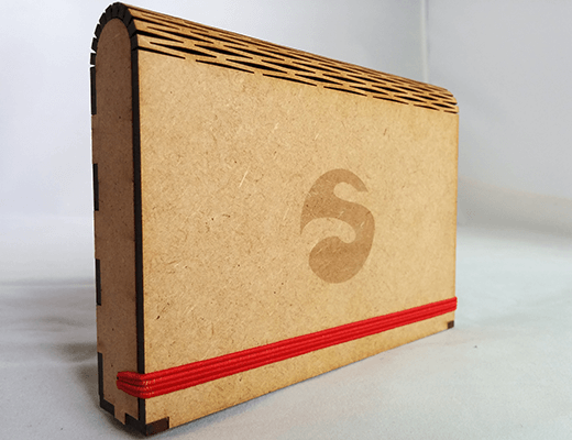 An MDF box created by our designers with a living hinge