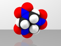 Space-filling molecular model of RDX (cyclonite, C4)