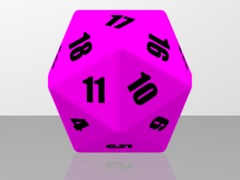 20 sided dice Pink & Black