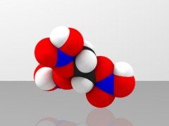 Space-filling molecular model of nitroglycerine (dynamite)
