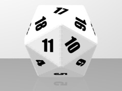 20 sided dice WHITE