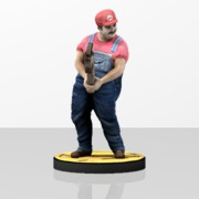 Sexy Mario with Wrench and base (3.25 inches or 83mm)