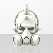 DJ Punk Skull Keychain