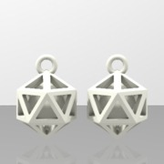 Polyhedron earrings with interlocked heart