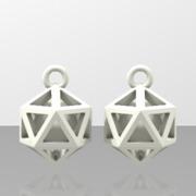 Polyhedron earrings with interlocked heart