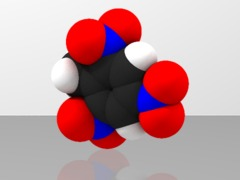 Space-filling molecular model of TNT
