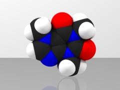 Space-filling molecular model of Caffeine