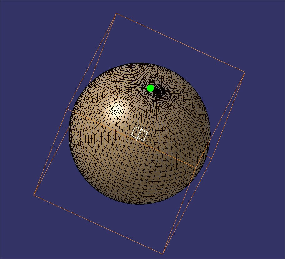Catia tutorial: green sphere for size comparison in edge length mesh reduction