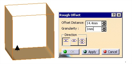 Catia tutorial: Rough Offset tool's parameters: Offset distance and Granularity