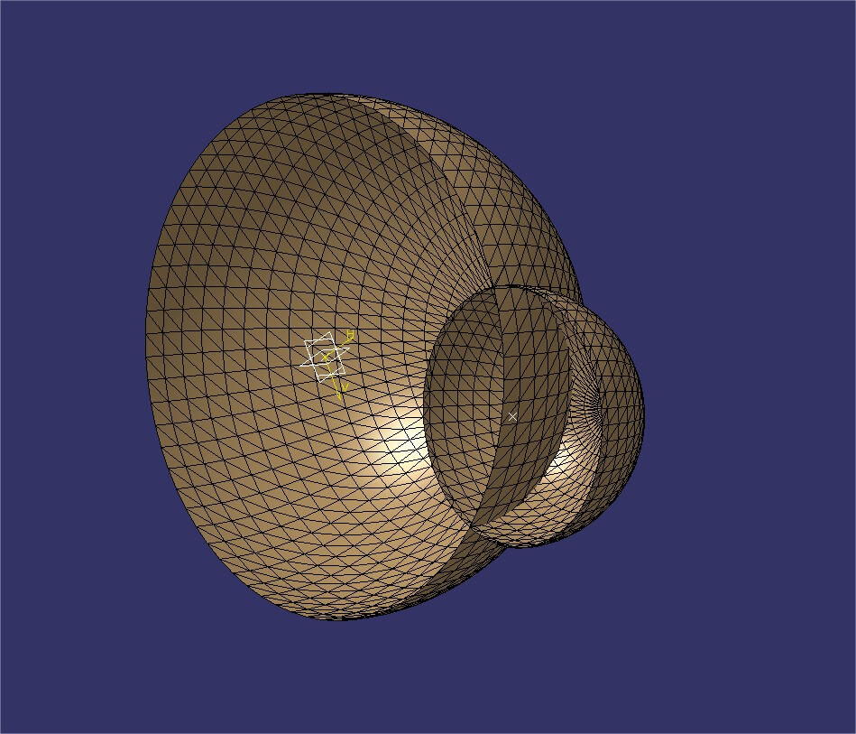 Catia tutorial: Trim / Split tool used on a pair of example spheres