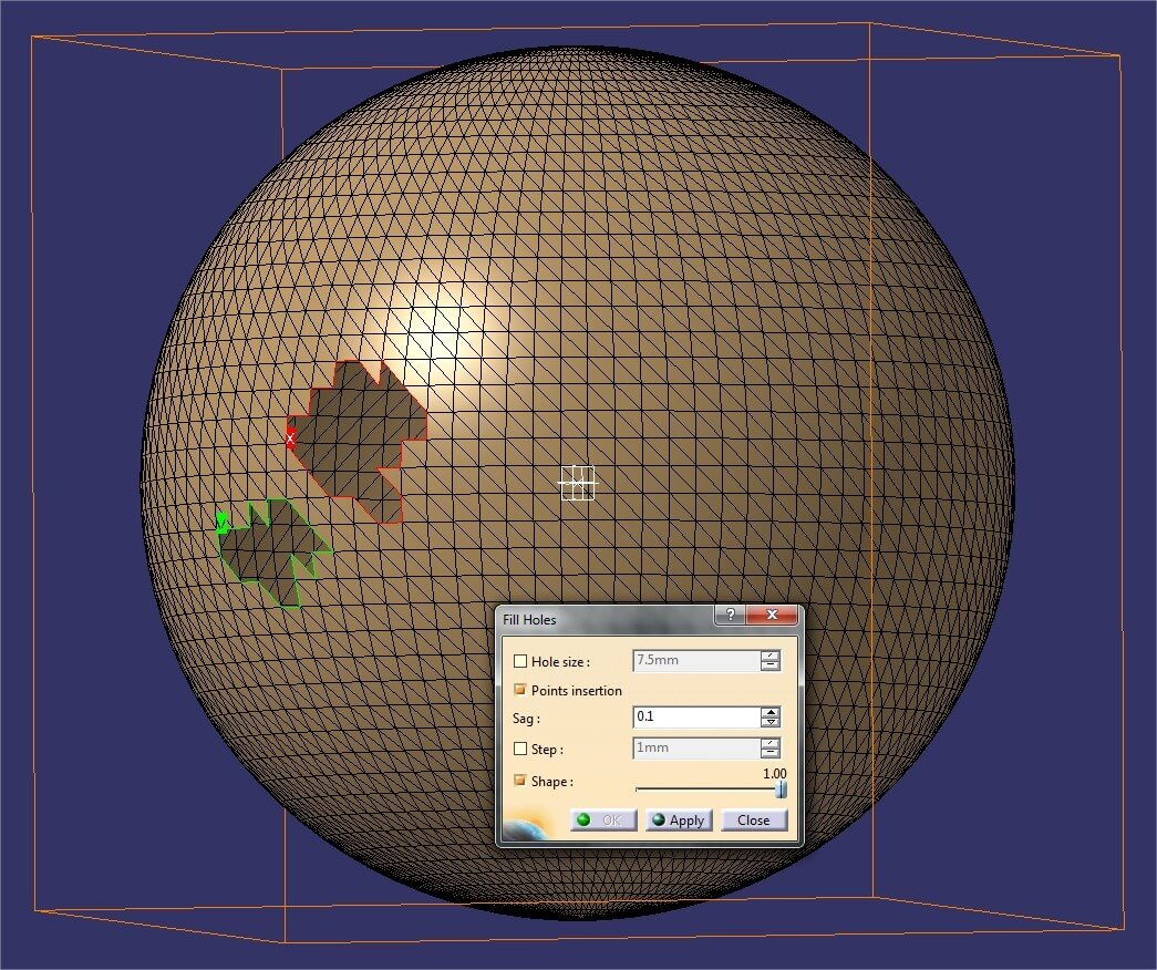 Catia tutorial: Fixing holes with the Hole filling tool on a spherical shell