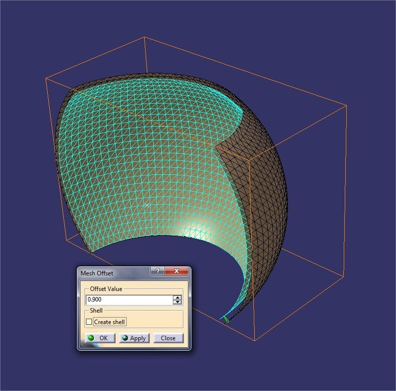 Catia tutorial: Mesh offset tool to creat a volumen out of a open shell