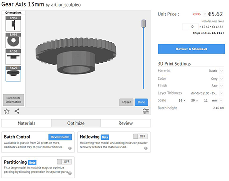 Sculpteo Batch control customize orientation for 3D printing