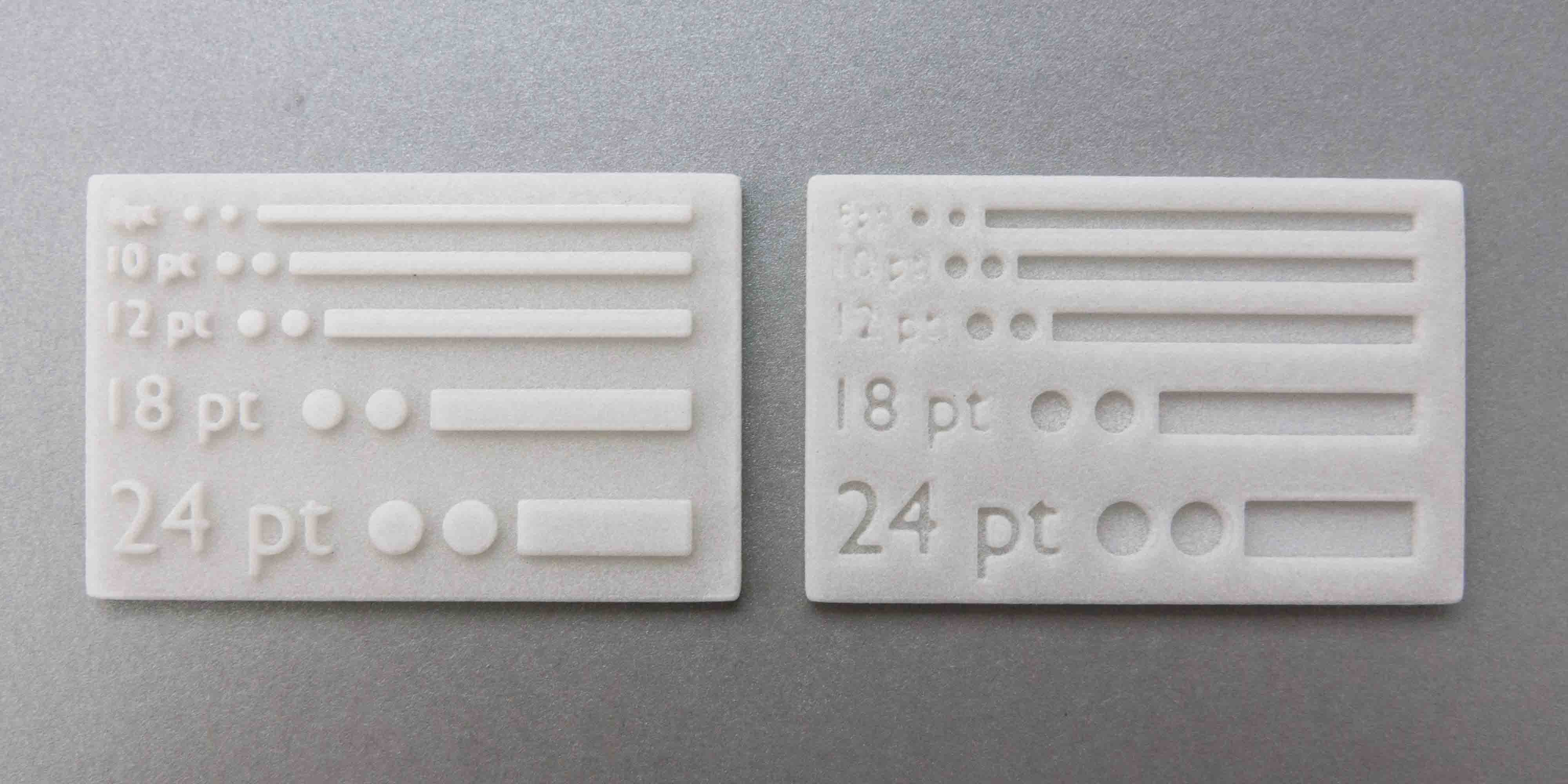 Difference of embossing between two black 3d print