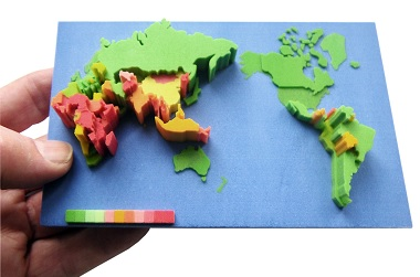 3D printed geographical data