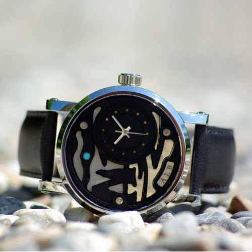 impression 3d metal silver watch