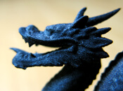 Resin 3D print of a black dragon showing resin 3D printing resolution