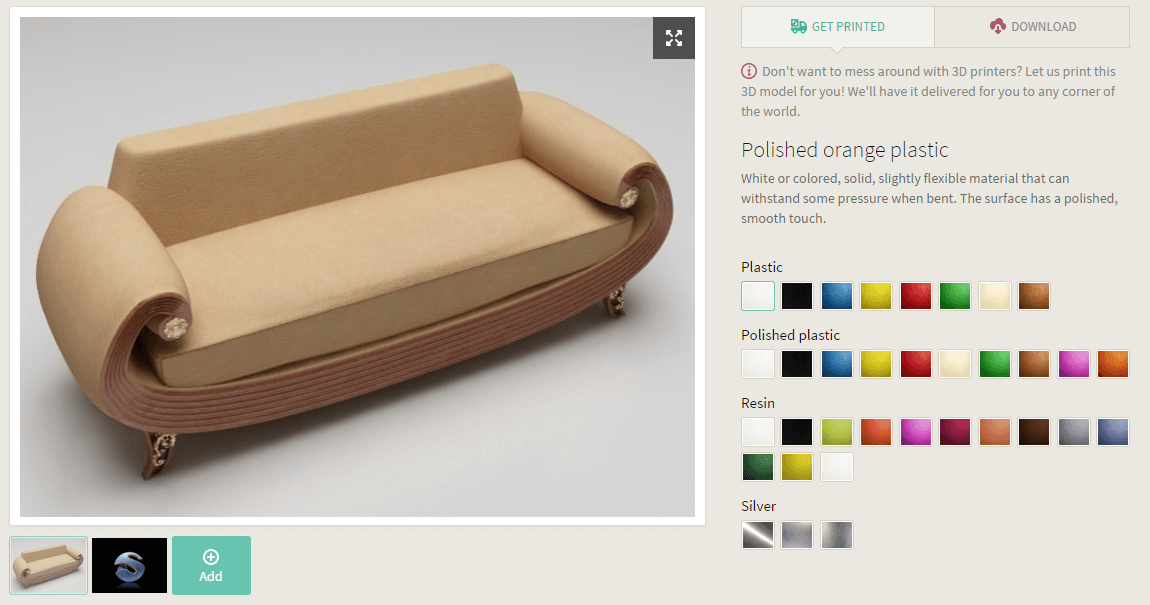 Example of a small 3D Printed sofa : Display your 3D design using Designs API
