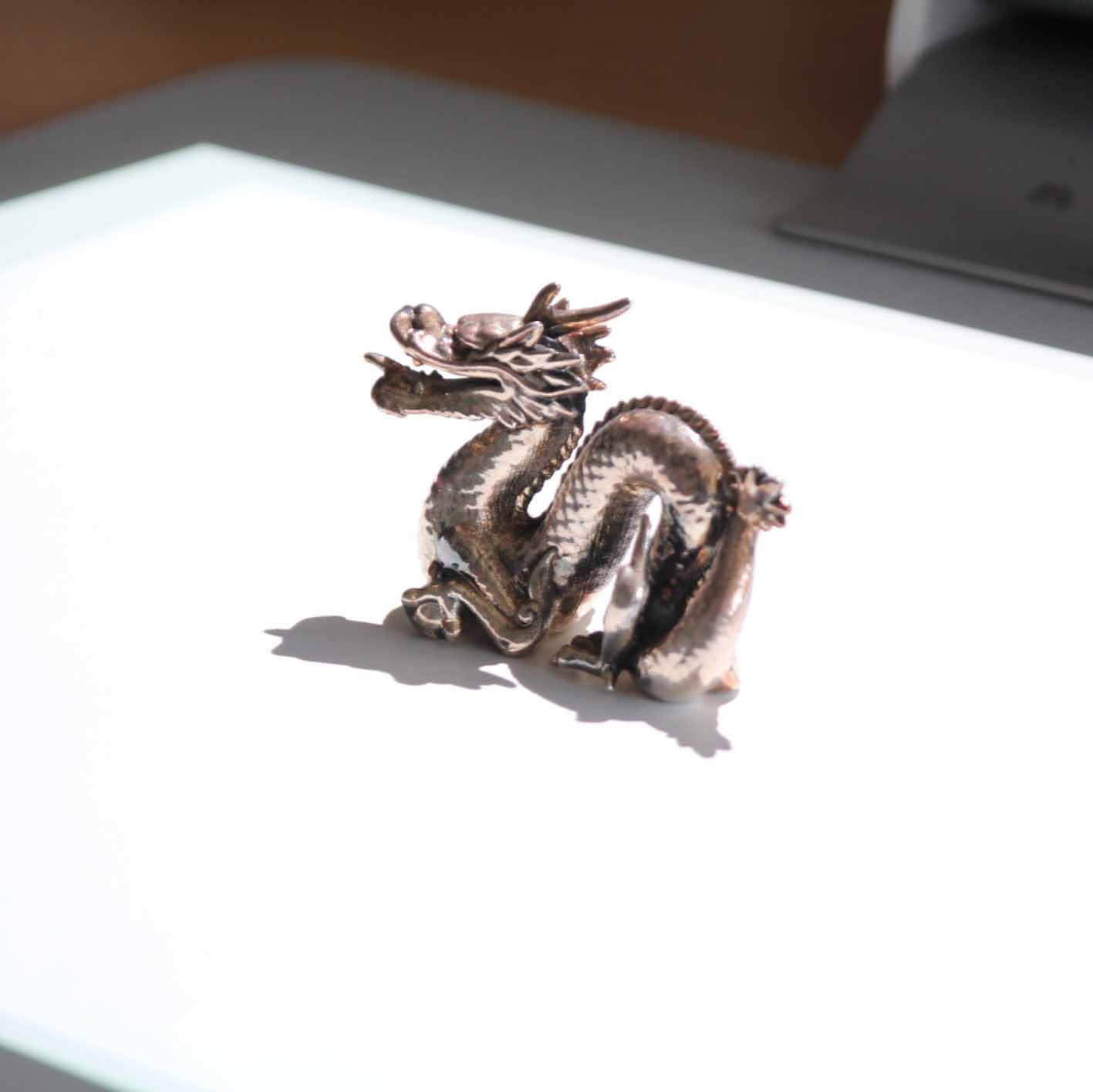 impression 3d metal silver dragon