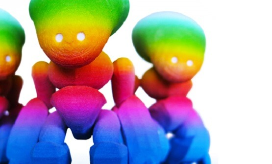 polyamide coloré, objet imprimé en 3D