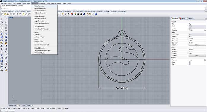 Rhino linear dimension tool