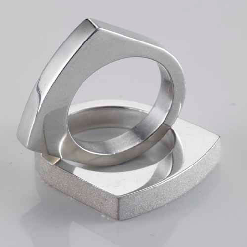 impression 3d metal silver ring