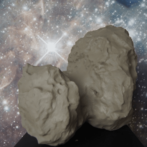picture of a 3D printed asteroid with the Rosetta spacecraft