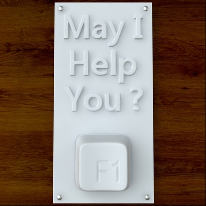 'May I Help YOu?' sign
