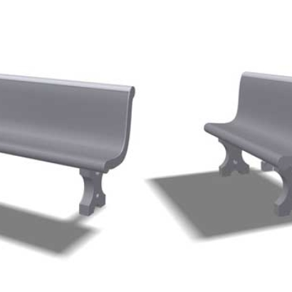 Cement Benches, HO scale, Set of 10 single seats + 6 double seat