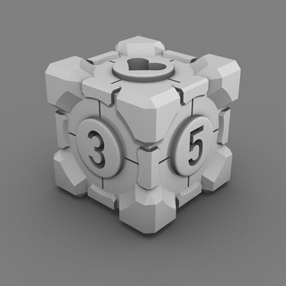 Portal Companion Cube DICE (Hollow Heart Numbers)