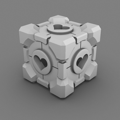 Portal Companion Cube (Hollow Hearts)